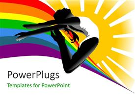 PowerPlugs: PowerPoint template with a girl showing acrobatics with colorful background