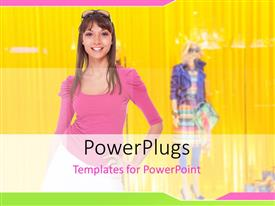 PowerPlugs: PowerPoint template with a girl showing her clothes with another one in the back