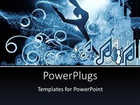 PowerPlugs: PowerPoint template with girl silhouette notes lights and abstract design elements on the subject of music song performance and dance