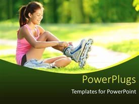PowerPoint template displaying girl sitting in grass putting on inline skates with nature