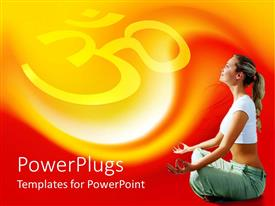 PowerPoint template displaying a girl sitting in yoga position