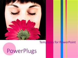 PowerPoint template displaying a girl smelling the flower with multicolored background