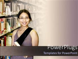 PowerPlugs: PowerPoint template with a girl smiling in a library