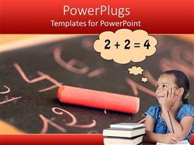 PowerPoint template displaying a girl solving mathematical terms with blackboard in the background
