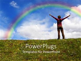 PowerPoint template displaying a girl standing on  hill with rainbow in the background