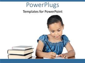 PowerPlugs: PowerPoint template with girl student writing with pencil on paper beside stack of books, education, learning, teaching, school