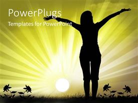 PowerPlugs: PowerPoint template with a girl with sunshine in the background