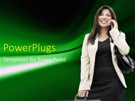 PowerPlugs: PowerPoint template with the girl talking to a person on call