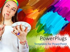 PowerPlugs: PowerPoint template with a girl thinking of making a painting with one in the background