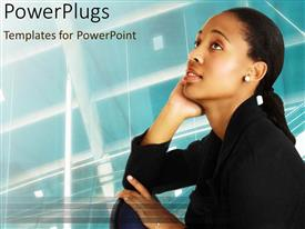 PowerPlugs: PowerPoint template with a girl thinking something with boxes in the background