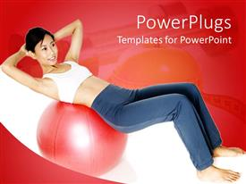 PowerPlugs: PowerPoint template with a girl trying to do exercise with a fitness ball