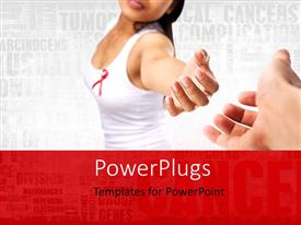 PowerPlugs: PowerPoint template with a girl trying to hold a hand with words in the background