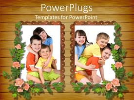 PowerPlugs: PowerPoint template with girl and two boy children posing in frames with flowers, kids, family
