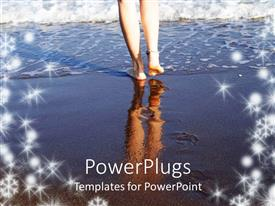 PowerPlugs: PowerPoint template with a girl walking on the beach