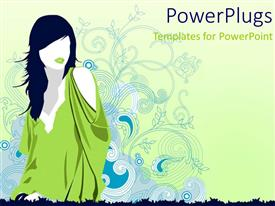 PowerPoint template displaying a girl wearing stylish clothes with flowers in the background