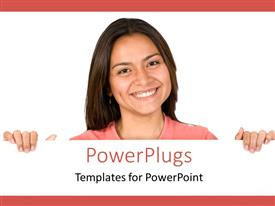 PowerPoint template displaying a girl with a white background and place for text