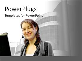PowerPlugs: PowerPoint template with a girl working on the computer