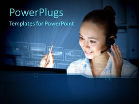 PowerPlugs: PowerPoint template with a girl working with the computer and light in the background