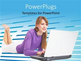 PowerPlugs: PowerPoint template with a girl working on the laptop and bluish background