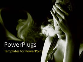PowerPlugs: PowerPoint template with a girl worried and smoking with dark background