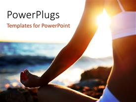 PowerPlugs: PowerPoint template with a girl in yoga position on the beach