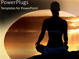 PowerPlugs: PowerPoint template with a girl in a yoga position with clouds  in the background