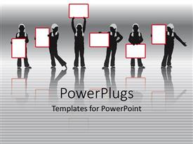 PowerPlugs: PowerPoint template with girls holding signs for presentation women feminism education
