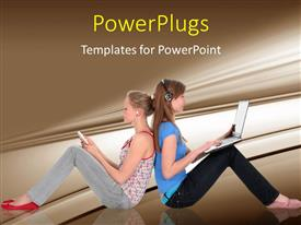 PowerPlugs: PowerPoint template with girls using laptop and listening to music with brown shades
