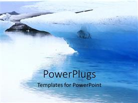 PowerPoint template displaying a glacier in a lake with whitish background