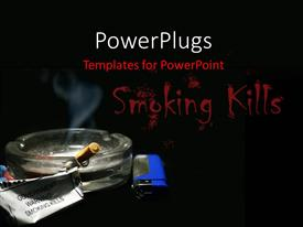 PowerPoint template displaying a glass ash tray with a lit cigarette and a blue lighter