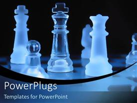 PowerPlugs: PowerPoint template with glass chess pieces with blue lighting over a black background