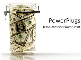 PowerPlugs: PowerPoint template with glass container with locked lid filled with dollar bills on white background