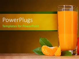 PowerPlugs: PowerPoint template with glass cup filled with fruit juice and an orange