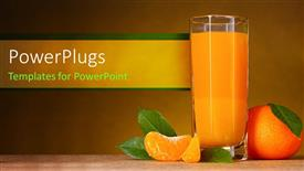 PowerPoint template displaying glass cup filled with fruit juice and an orange