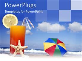 PowerPlugs: PowerPoint template with a glass full of juice and clouds in the background
