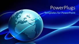 PowerPoint template displaying a globe with a bluish background and place for text