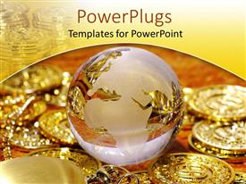 PowerPlugs: PowerPoint template with a glass globe along with golden coins on the side and in the background
