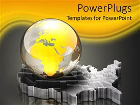 PowerPlugs: PowerPoint template with glass globe sitting atop three dimensional USA map