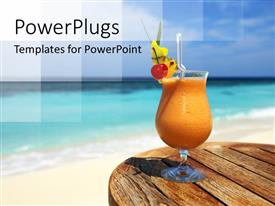 PowerPlugs: PowerPoint template with a glass of juice with sea in the background