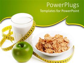 PowerPlugs: PowerPoint template with a glass of milk along with cornflakes and an apple