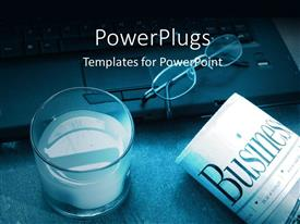 PowerPlugs: PowerPoint template with a glass of milk and a newspaper with a laptop