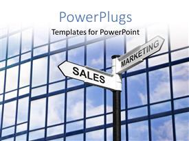 PowerPoint template displaying glass office building with sales and marketing signpost