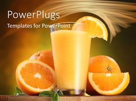 PowerPoint template displaying glass of orange juice with oranges cut in half on table