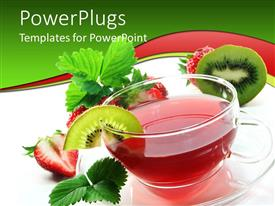 PowerPlugs: PowerPoint template with glass tea cup and saucer, red tea, strawberry, kiwi, mint
