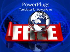 PowerPlugs: PowerPoint template with glass transparent globe on top of a bright red and white banner
