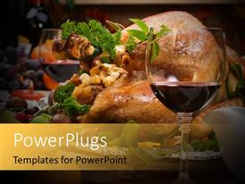 PowerPlugs: PowerPoint template with a glass of vine with a turkey in the background