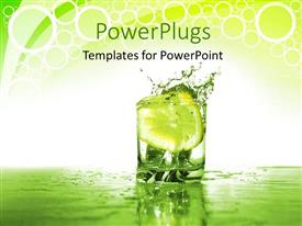 PowerPoint template displaying a glass with water and a slice of lemon