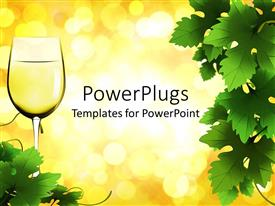 PowerPoint template displaying glass of white wine with grape green leaves on glowing spots on yellow background