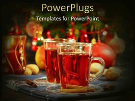 PowerPlugs: PowerPoint template with glass of wine with cookies on table