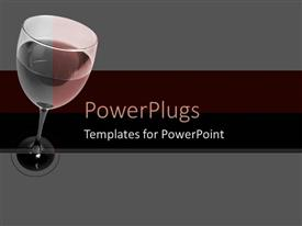 PowerPoint template displaying a glass of wine with grey background